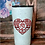 Thumbnail: 20 oz. White Glitter Western Heart w Monogram Custom Travel Mug