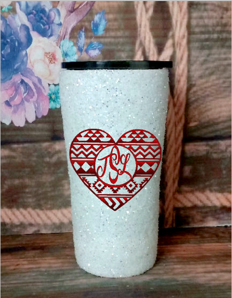 20 oz. White Glitter Western Heart w Monogram Custom Travel Mug