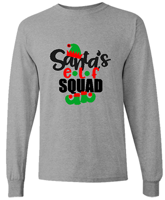 Mens Santa's Elf Squad Long Sleeve Tee