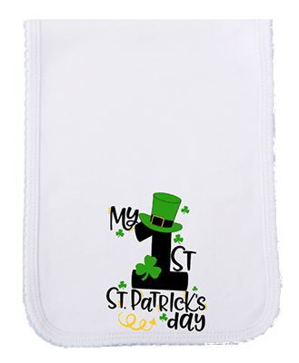 1st St Patricks Day Tophat Burp Cloth