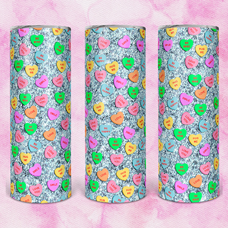 Blue Candy Heart 20 or 30oz Skinny  Custom Tumbler