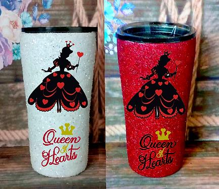 20 oz. White or Red Glitter Queen of Hearts Custom Travel Mug