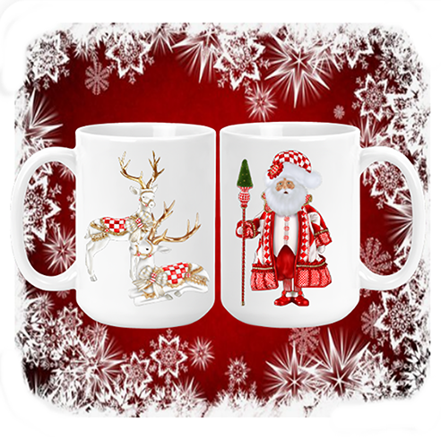 Santa & Reindeer Mug red