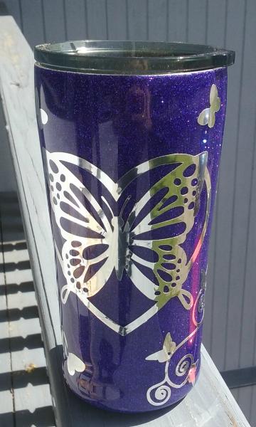 Chrome Butterfly Custom Tumbler