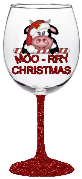 20oz Moo-rry Christmas Wine Glass