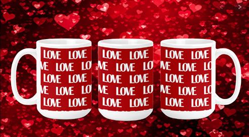 Love on Red II 15oz Valentine Mug