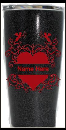 20 oz. Black Glitter Cupid Split Heart Custom Travel Mug