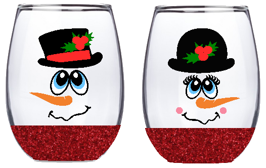 21oz Stemless Mr & Mrs Snowman Wine Glass Set