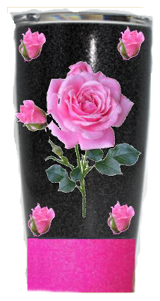 20 oz. Black and Pink Glitter Pink Roses Custom Travel Mug