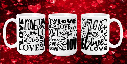 Black Love Words on White 15oz Valentine Mug