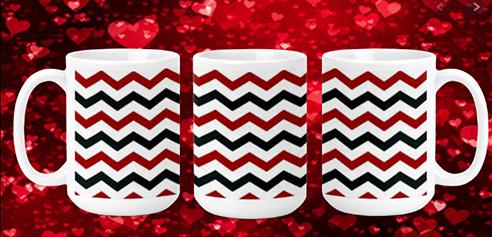 Red & Black Chevron 15oz Valenting Mug