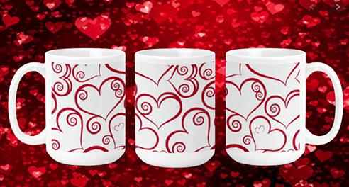 Swirl Hearts 15oz Valentine Mug