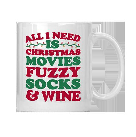 Christmas Movies, Fuzzy Socks & Wine Mug