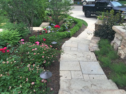 stone stairs - shrubs - annual color