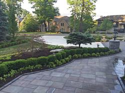 stone walkway - shrubs - tree