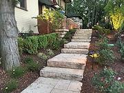 stone stairs - shrubs - mulch