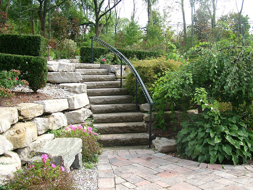 stone stairs - retaining wall - shrubs