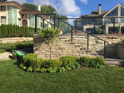 shrubs - trees - stone stairs