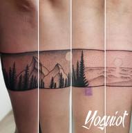 tatouage bandeau, tatouage paysage, taouage dotwork, yoguiot