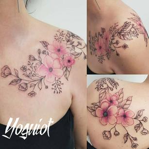 tattoo cover, taouage florale, tatouage fleur, yoguiot
