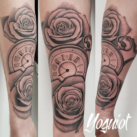tatouage roses, tatouage montre, yoguiot