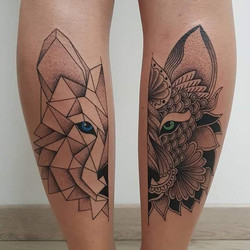 quadrilatera tattoo loup origami mandala