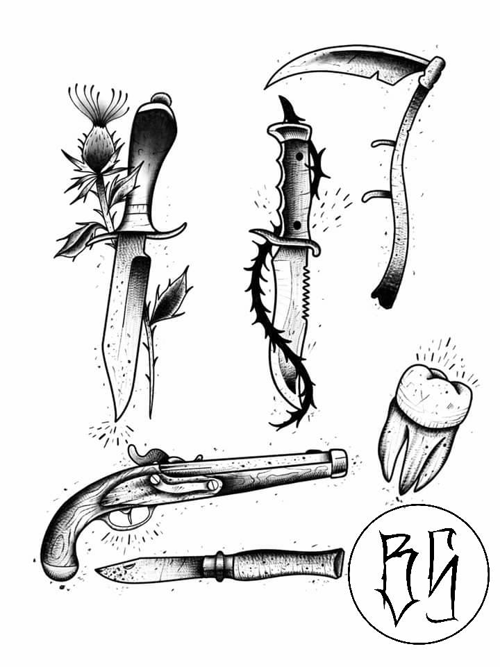 quadrilatera tattoo flash couteaux armes