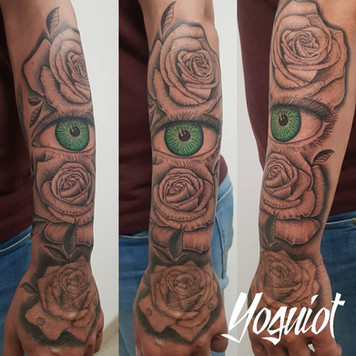 tatouage oeil, tatouage rose, yoguiot
