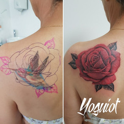 tattoo cover, tatouage rose, yoguiot, recouvrement