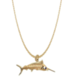 marlin, gold, pendant, jewelry, necklace,