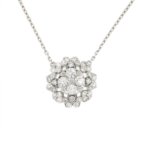 Diamond Circle Halo Necklace