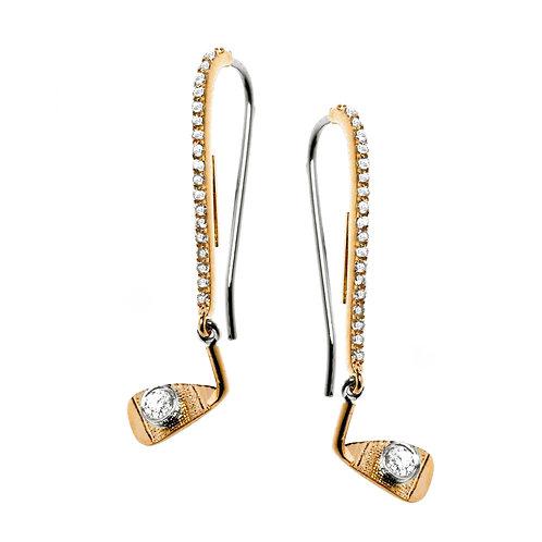 Diamond Iron Wedge Dangle Earrings