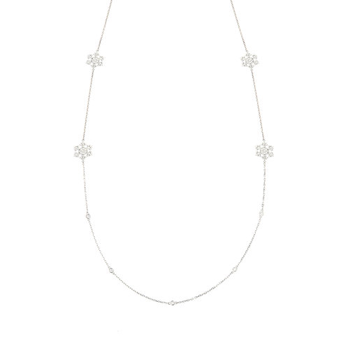 Long Diamond Snowflake Station Necklace