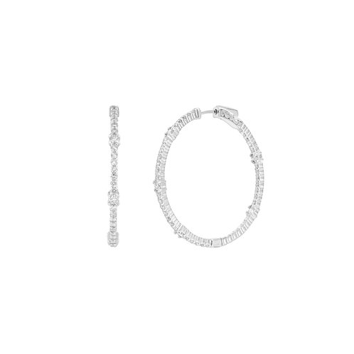 Round In/Out Diamond Station Hoop Earrings