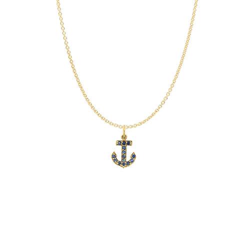 Sapphire Anchor Charm