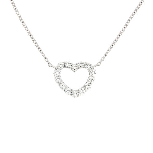 Rounded Diamond Heart Necklace