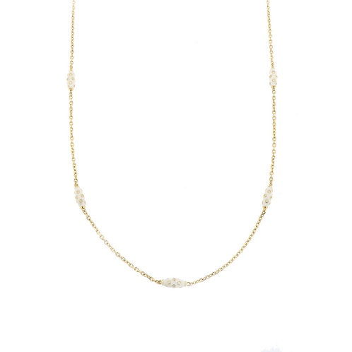 Long Diamond Enamel Bead Necklace