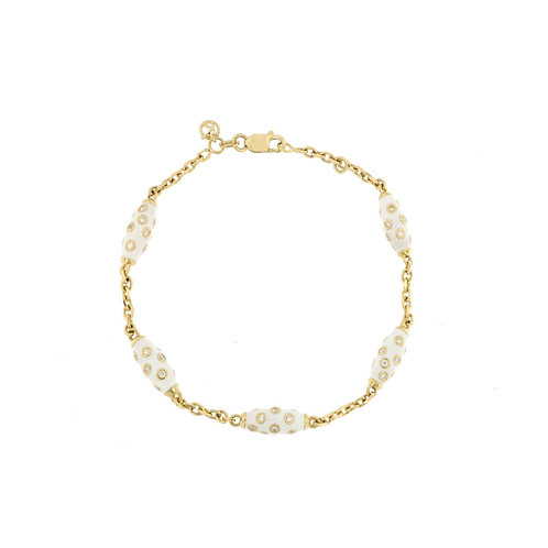White Enamel Diamond Bead Bracelet