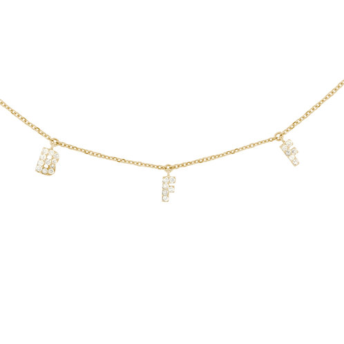 Mini Diamond Inital Charm Necklace