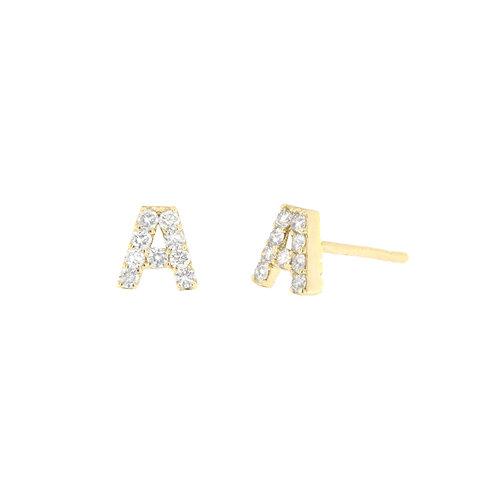 Diamond Initial Stud Earrings