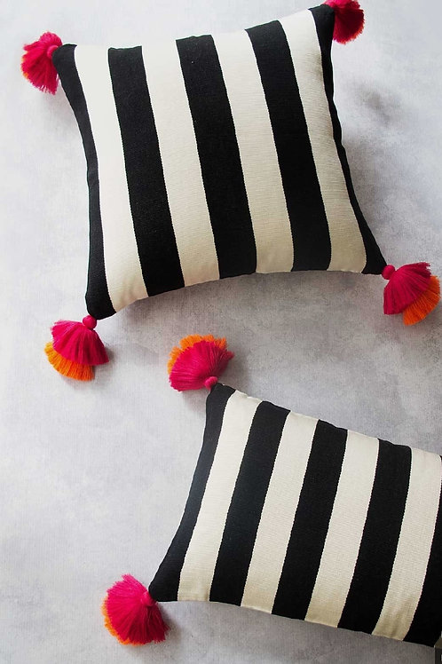 Black & White Stripes with  tassels