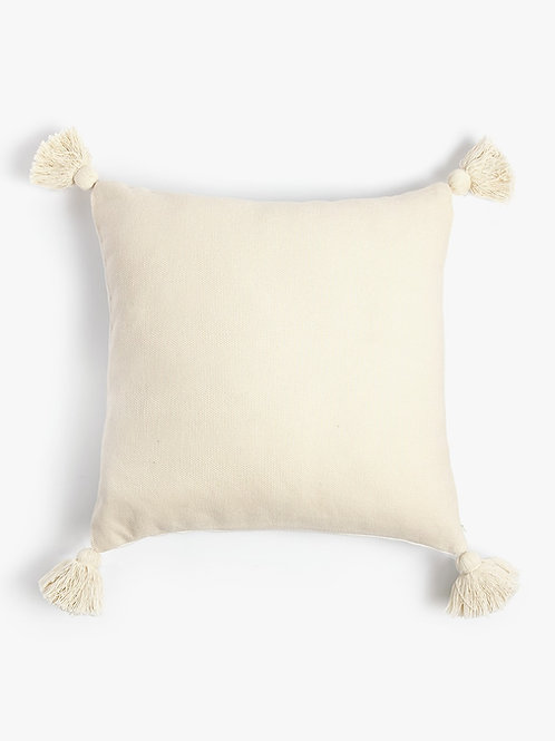 Neutral Solid Cushion with neutral tassels