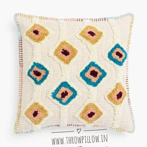 Blue & Mustard Tufted Cushion Cover