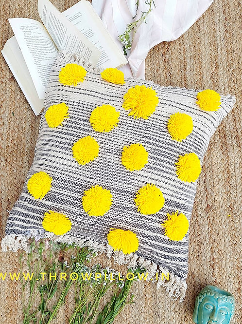 Daisy Yellow Pom Pom  Love Cushion Cover
