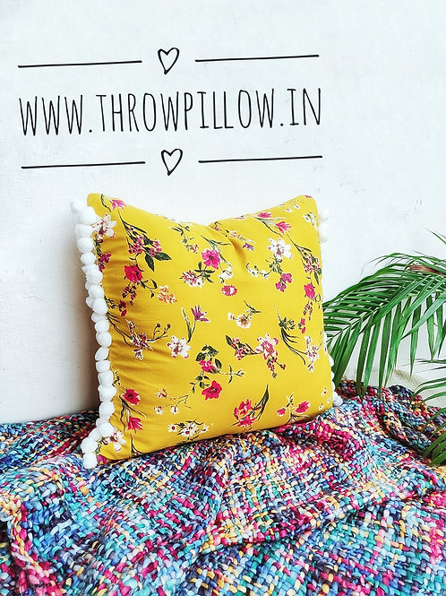 Yellow Floral Pom Pom Throwpillow