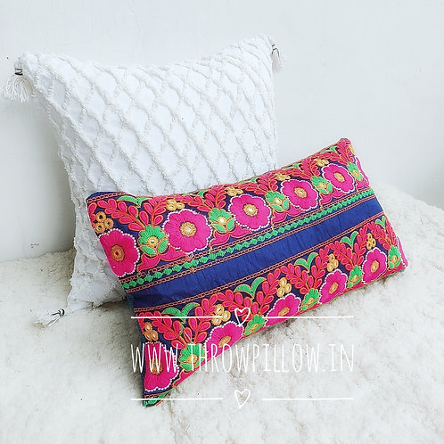 Multicolored Embroidered Rectangular Cushion