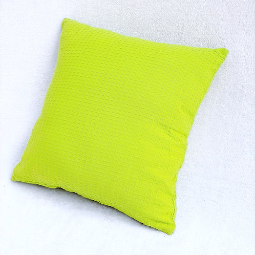 Bright Green Waffle Weave Textured Cushion Cover