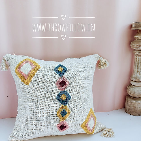 Boho Tuft Cushion Cover with tassles