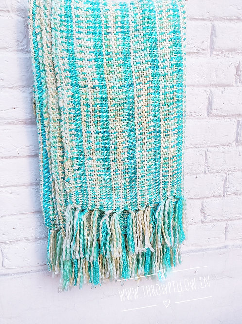 Aqua Blue Basket weave Throw