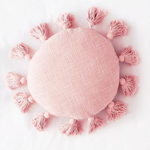 Blush All Round Tassel Cushion Cover- 16 inches